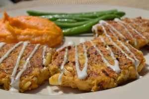 Artichoke Corn Cakes with sour cream