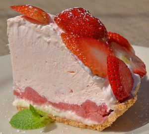 Strawberry Ice Box Pie with fresh local strawberries