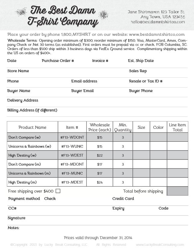 excel shirt order form template