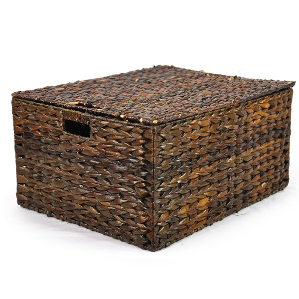 Audrey Mahogany Storage Basket With Removable Lid - Large Lucky Clover Trading