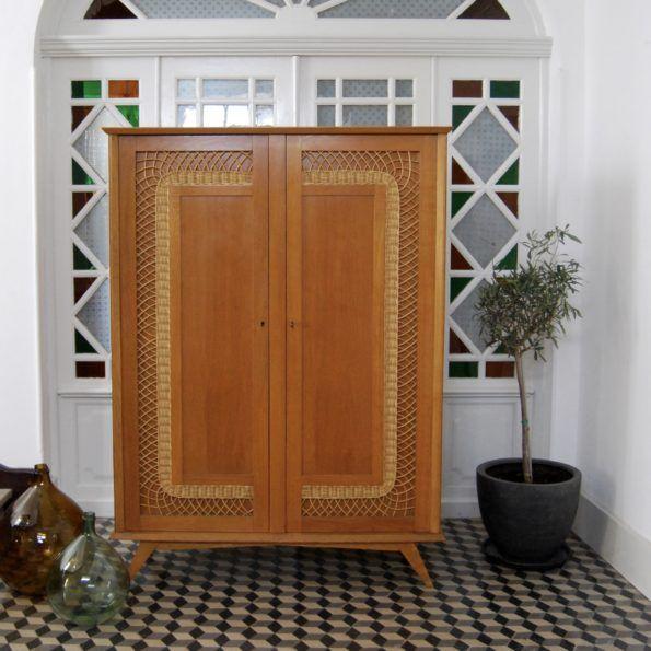 armoire rotin vintage scandinave annees 50 60