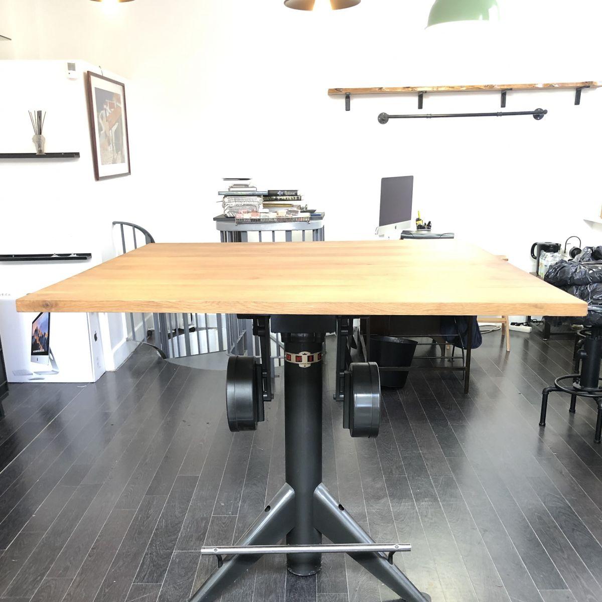 table style loft industriel 120 x 120 cm h 105