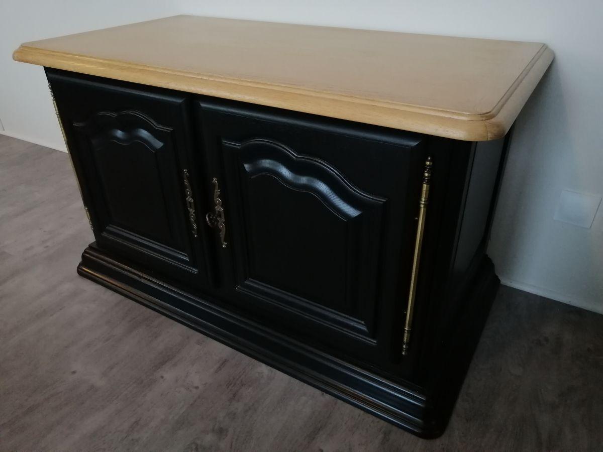 meuble tv restyle noir bois naturel
