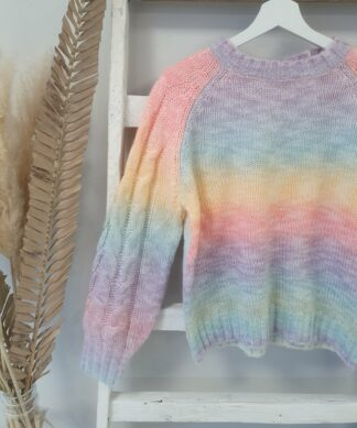 RUNDHALS Pullover RAINBOW – cabel knit