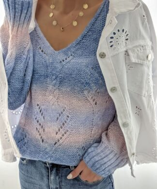 V-Neck Pullover CANDY CLOUDS Lochstrick