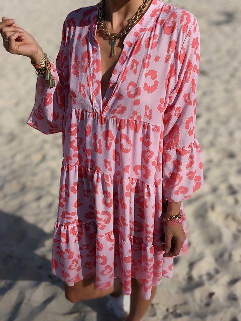 Tunikakleid Tulum – Pink Leo