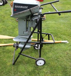 lot 523 evinrude 15 hp outboard motors w gas can and dolly [ 768 x 1152 Pixel ]