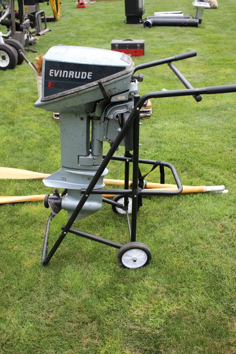 medium resolution of lot 523 evinrude 15 hp outboard motors w gas can and dolly