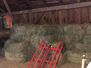 Hayloft filled with enough hay for the winter.