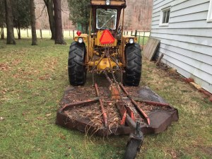 Rear view of the tractor with the brush hog.