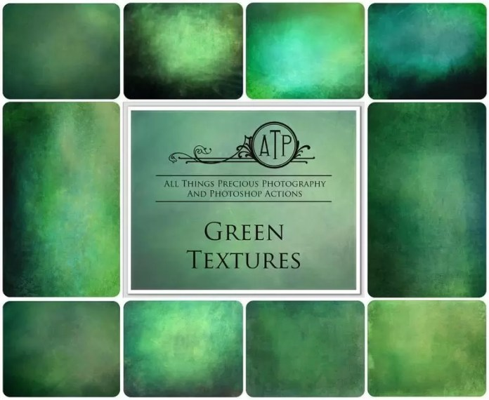Digital Green Textures Overlays