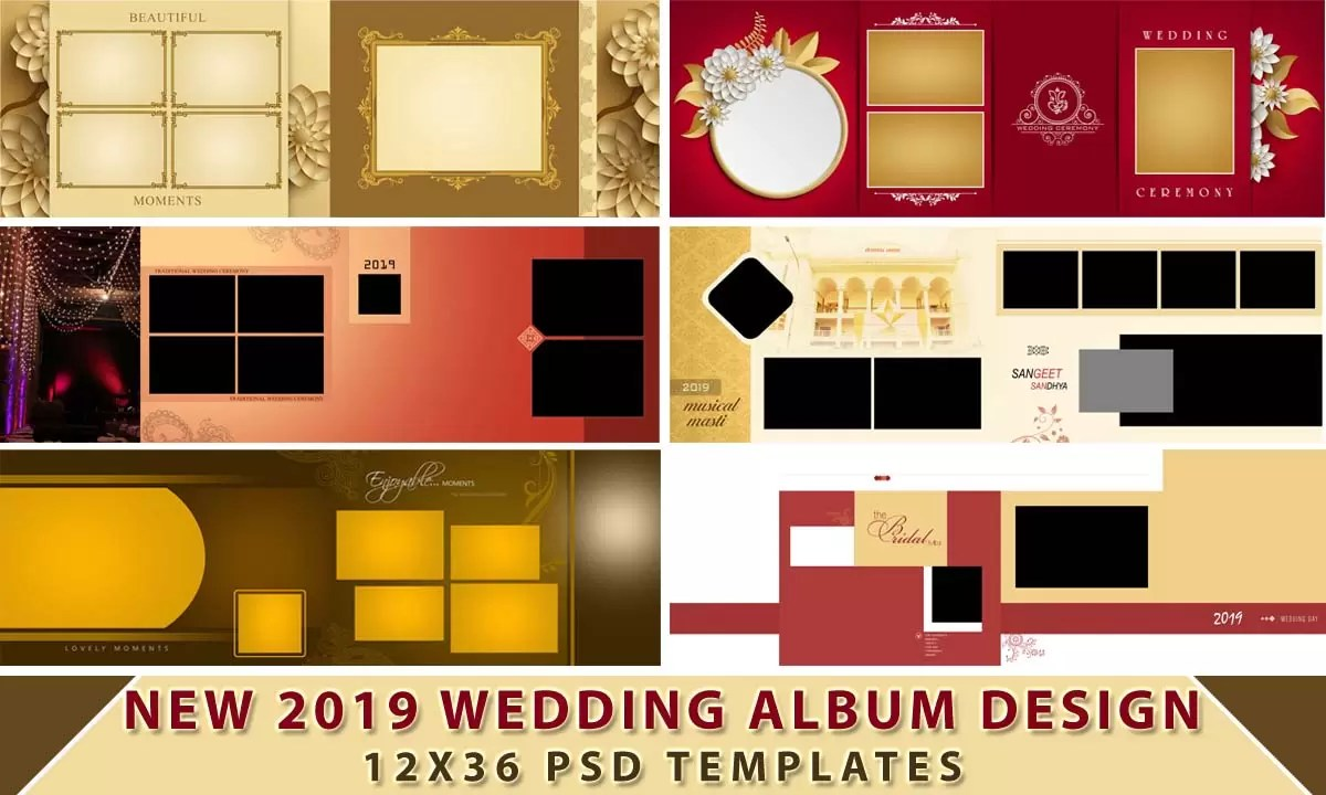 New 2019 Wedding Album Design 12x36 Psd Templates Luckystudio4u