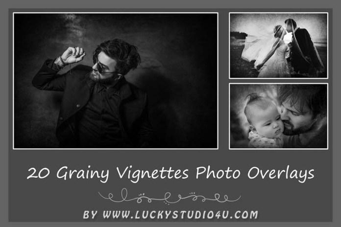 20 Grainy Vignettes Photo Overlays