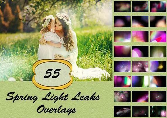 55 Spring Light Leaks Photo Overlays