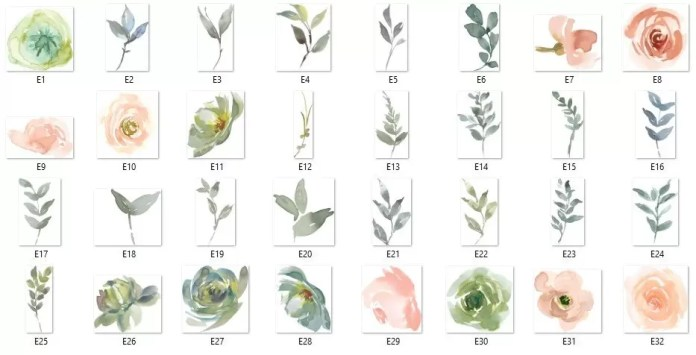 80+ Elegant Watercolor Flowers & Floral Cliparts Pack