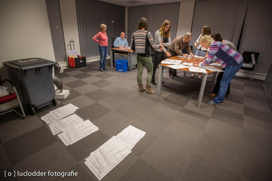 In Voerendaal worden de stemmen geteld tijdens de gemeenteraadsverkiezingen 2014