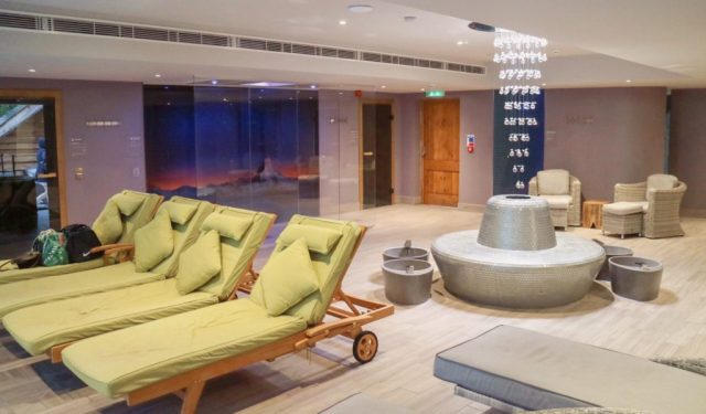 loungers and the foot spa area in the spa