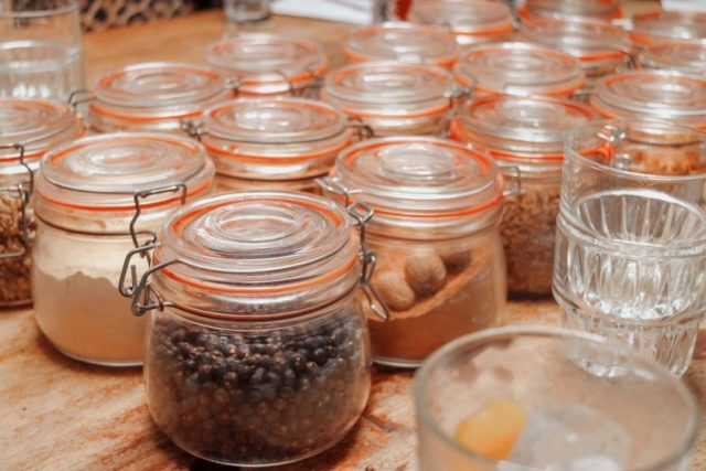 jars with ingredients in