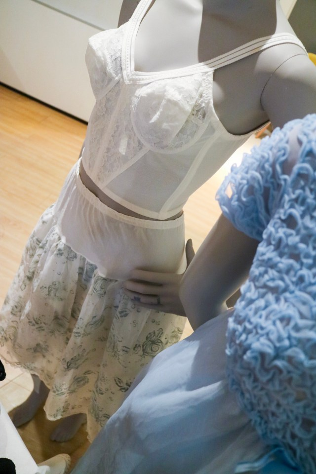 vintage longline bra and underskirt on a mannequin