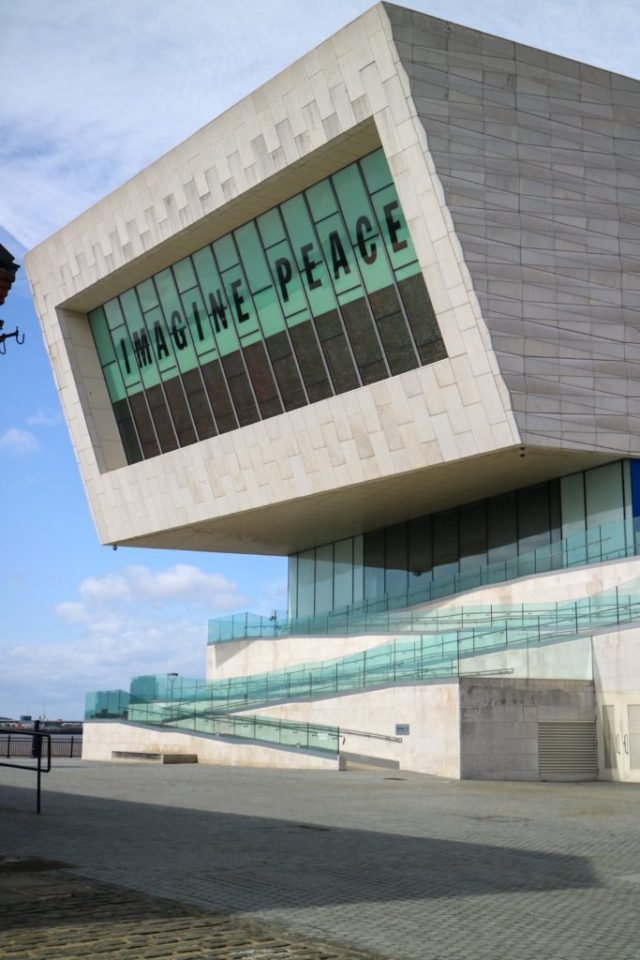 Liverpool museum with 'imagine peace' written