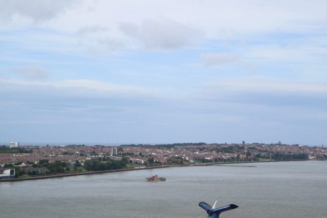 view of the mersey from the royal liver building