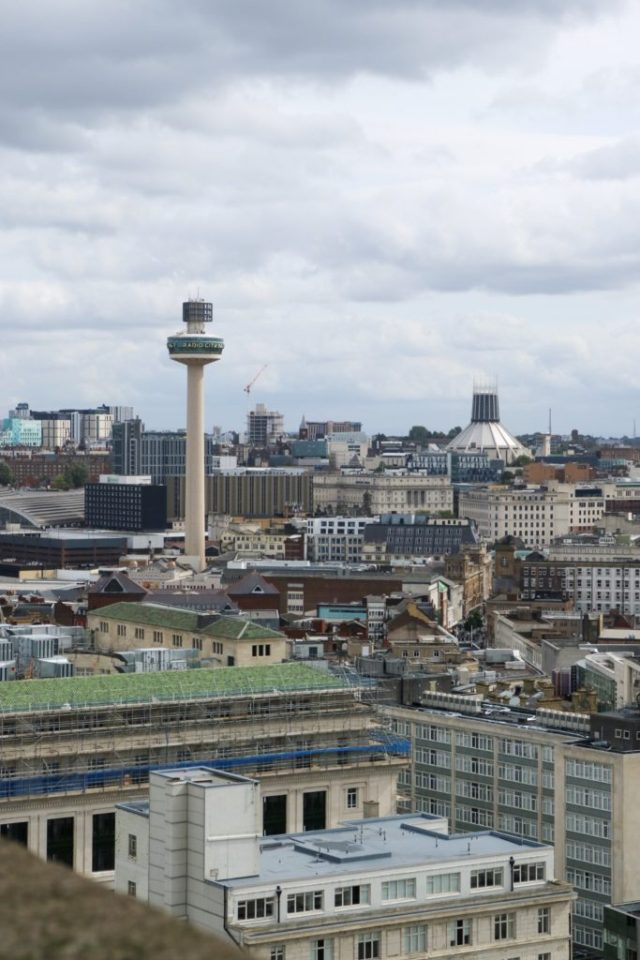 views of liverpool from the royal liver building
