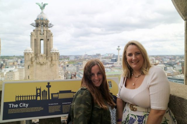 lucy and bee at the top of the royal liver building