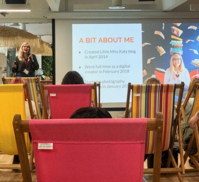 katy stood presenting