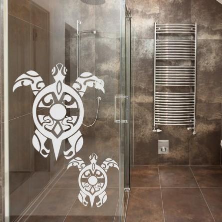 deco vitre salle de bain tortue