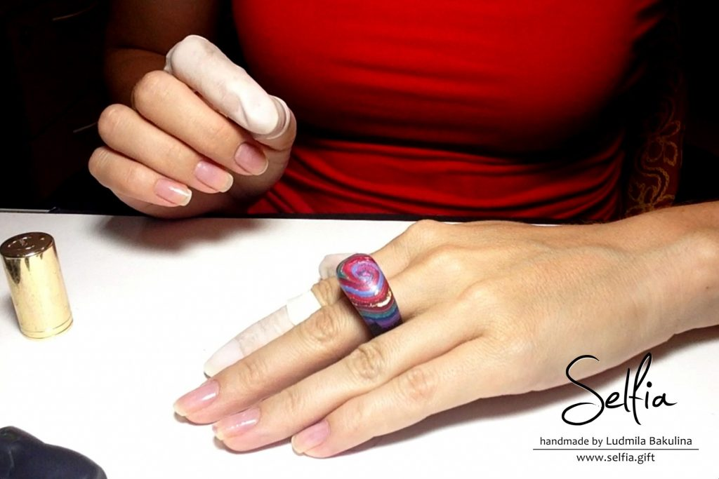 Bright whole ring from polymer clay - photo tutorial 18