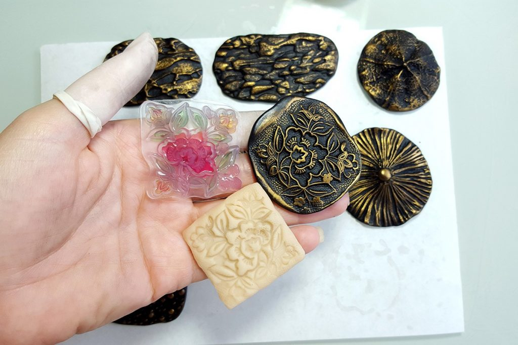 How to make different textured sheets using Mould Makers Sculpey and natural things 14