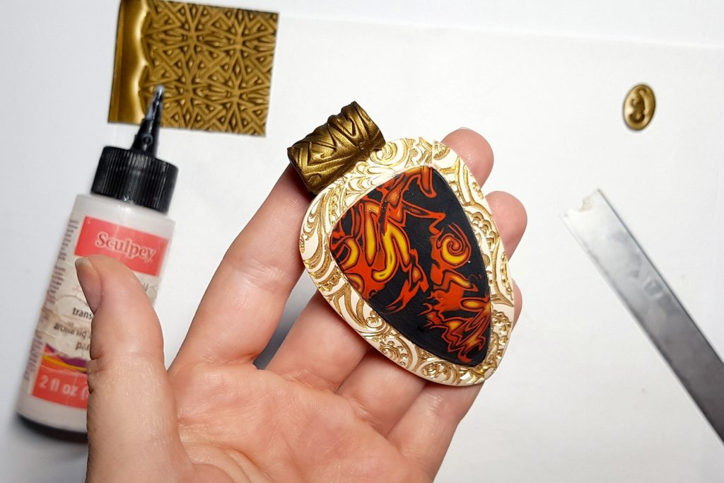 "Polymer clay Pendant ""The Flame of My Heart"" 17"