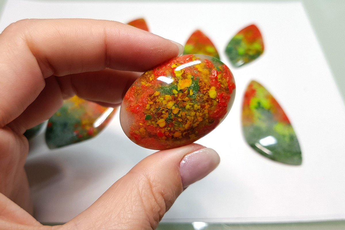 Faux Moss Agate Gemstone Cabochons 4