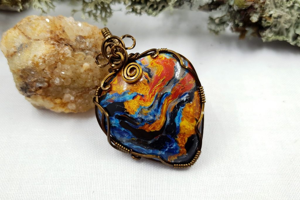 Free Tutorial: Wire Wrapped Faux Pietersite Stone cabochon 9