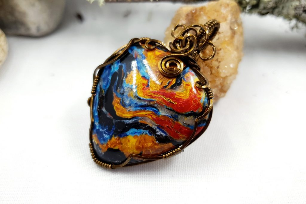 Free Tutorial: Wire Wrapped Faux Pietersite Stone cabochon 2