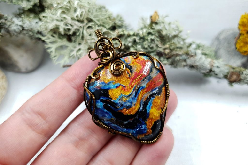 Free Tutorial: Wire Wrapped Faux Pietersite Stone cabochon 10