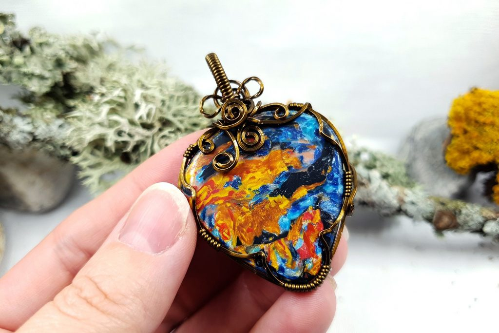 Free Tutorial: Wire Wrapped Faux Pietersite Stone cabochon 6