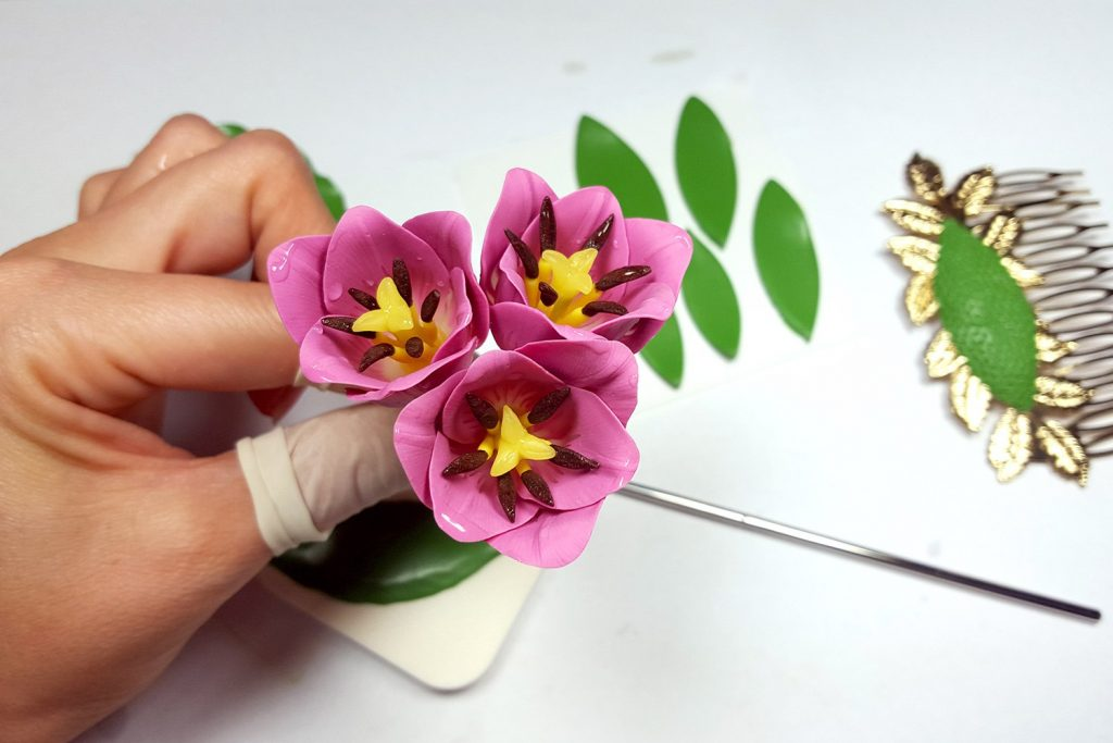 Hair Comb With Realistic Tulips Flowers from Polymer Clay 78