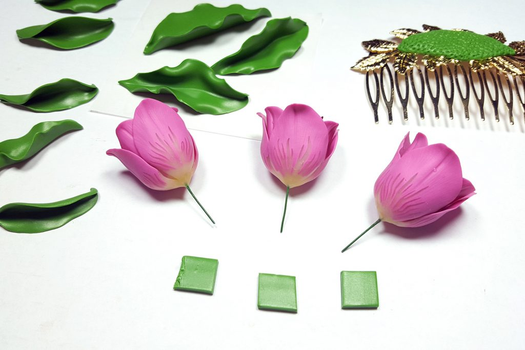 Hair Comb With Realistic Tulips Flowers from Polymer Clay 82