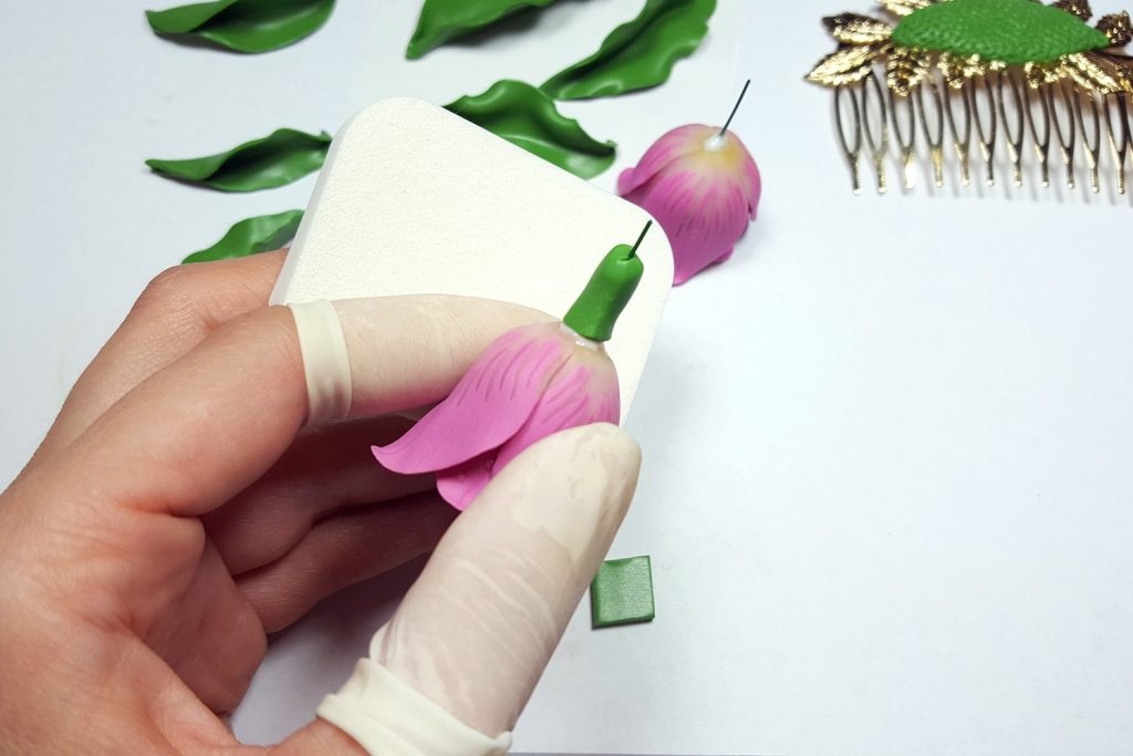 Hair Comb With Realistic Tulips Flowers from Polymer Clay 84