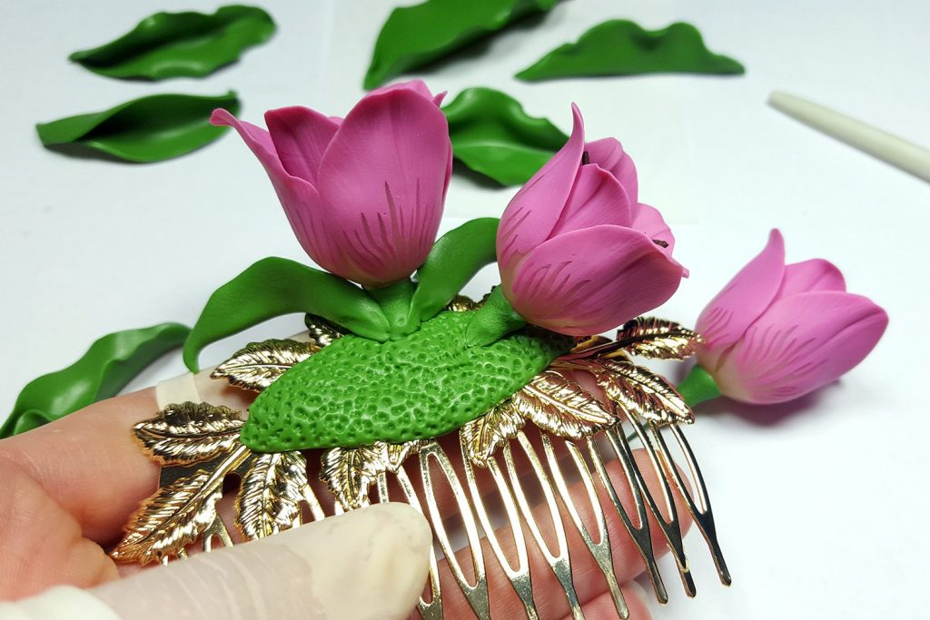 Hair Comb With Realistic Tulips Flowers from Polymer Clay 90