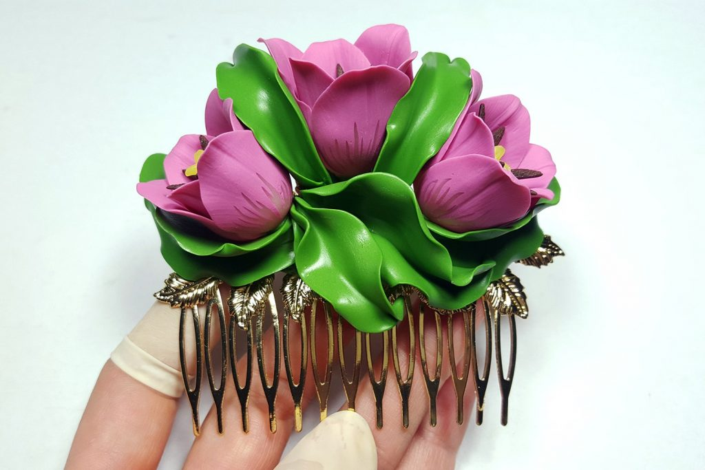 Hair Comb With Realistic Tulips Flowers from Polymer Clay 94