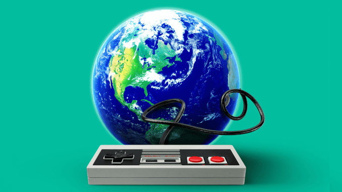 Planet Earth with game controller