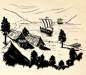 Line drawing of longship