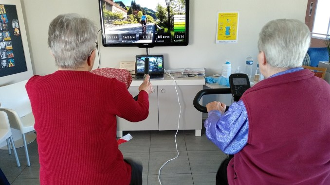 Elders playing video game