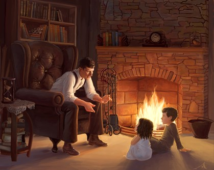 Adult telling story to children by a fireside