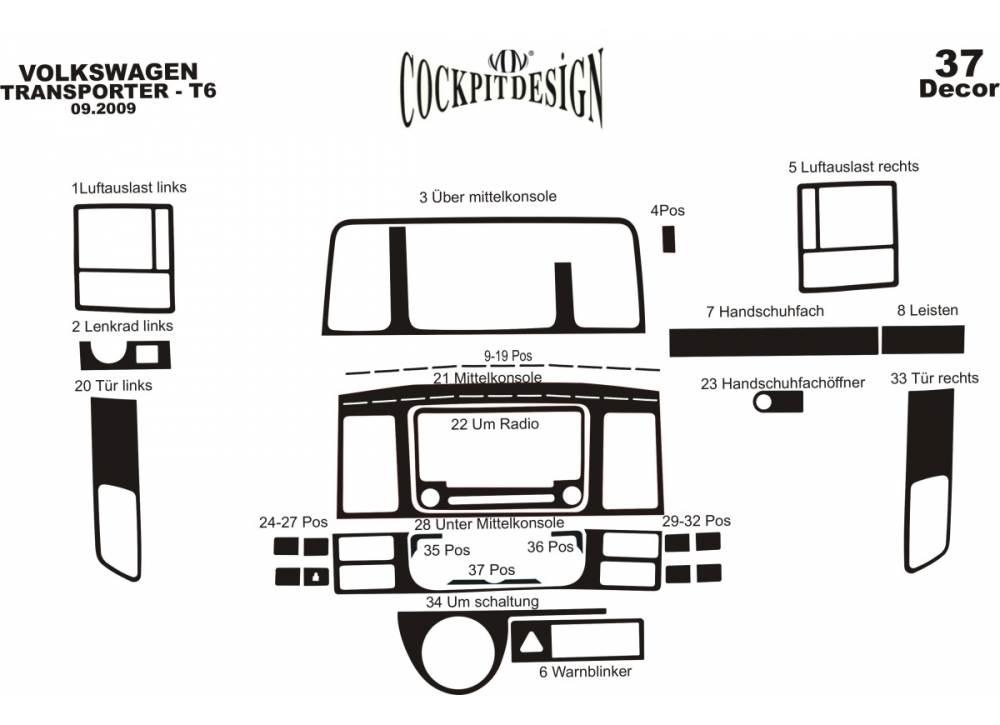 HABILLAGE TABLEAU DE BORD SILICONE- VW T5 TRANSPORTER