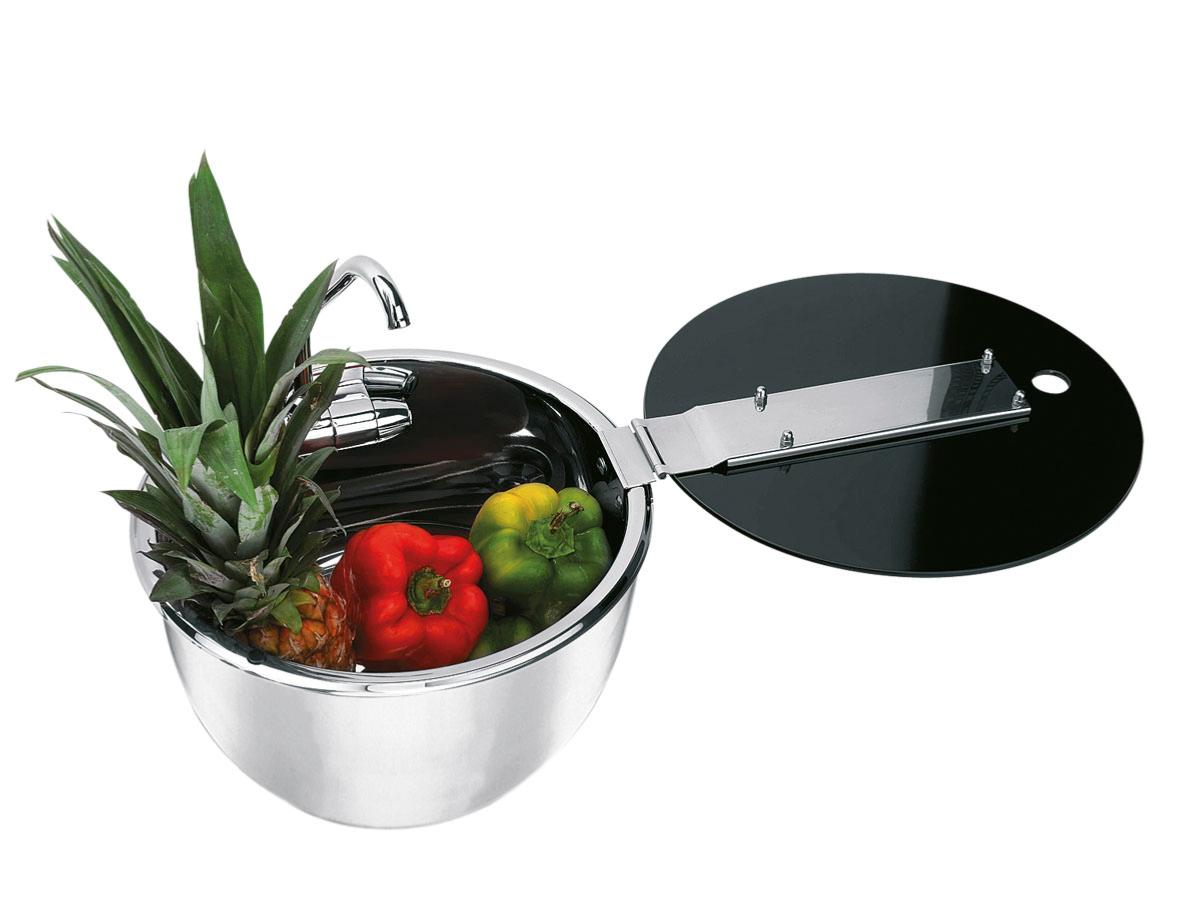 Evier Inox Couvercle Verre Trempe Rond Can Lr
