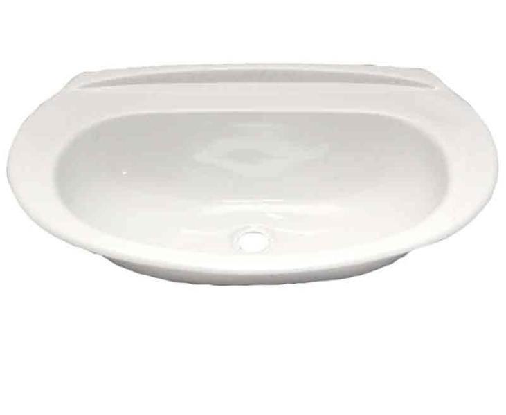 lavabo ovale encastrable blanc en abs 50 x 33 x 11 cm
