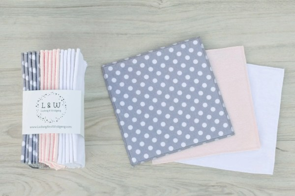 Bundle of Wipes (5 ea. 2-Ply, Gray Polka Dot, Pink & White Flannel) 1